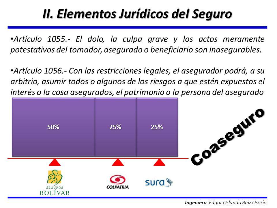 Ingeniero: Edgar Orlando Ruiz Osorio II. Elementos Jurídicos del Seguro Artículo 1055.- El dolo, la culpa grave y los actos meramente potestativos del