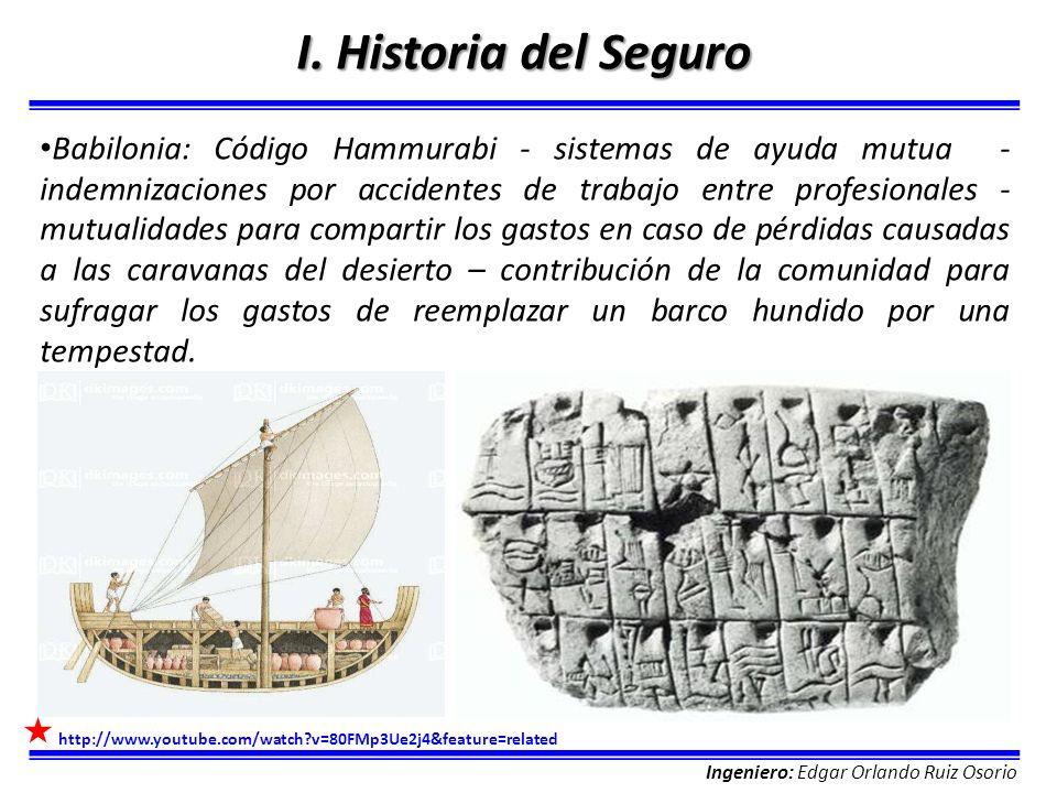 Ingeniero: Edgar Orlando Ruiz Osorio I. Historia del Seguro Babilonia: Código Hammurabi - sistemas de ayuda mutua - indemnizaciones por accidentes de