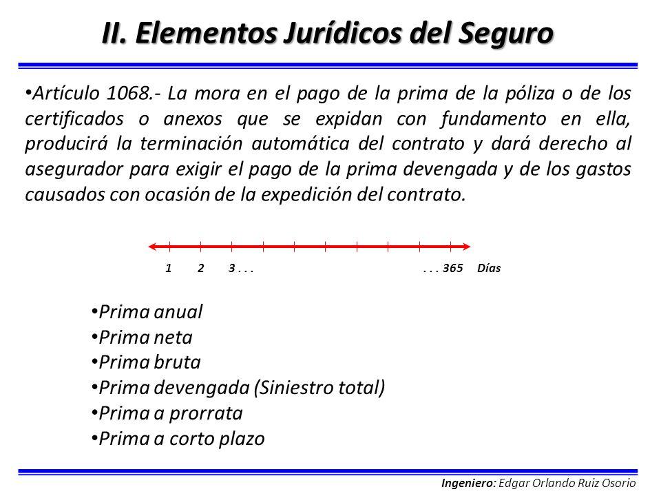 Ingeniero: Edgar Orlando Ruiz Osorio II. Elementos Jurídicos del Seguro Artículo 1068.- La mora en el pago de la prima de la póliza o de los certifica