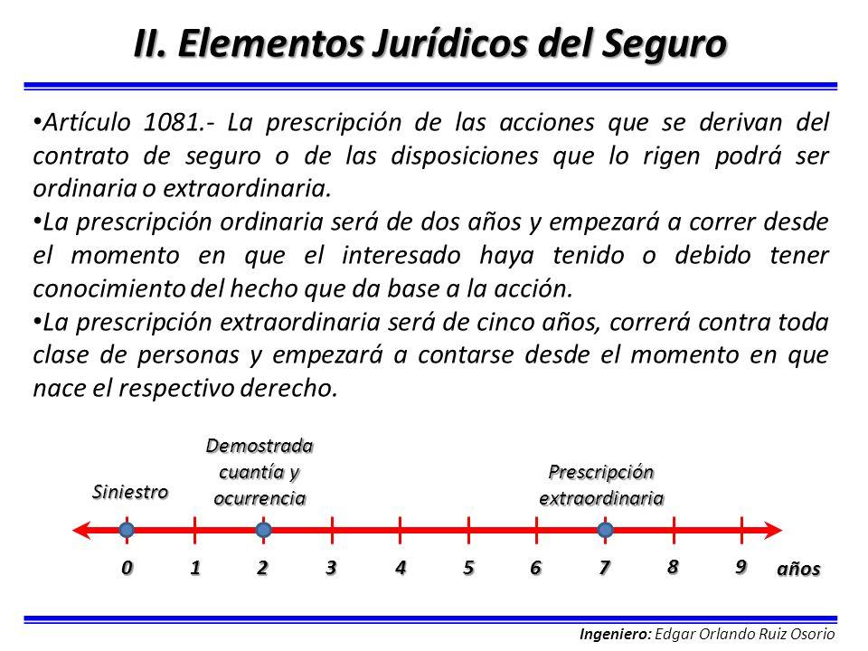 Ingeniero: Edgar Orlando Ruiz Osorio II. Elementos Jurídicos del Seguro Artículo 1081.- La prescripción de las acciones que se derivan del contrato de
