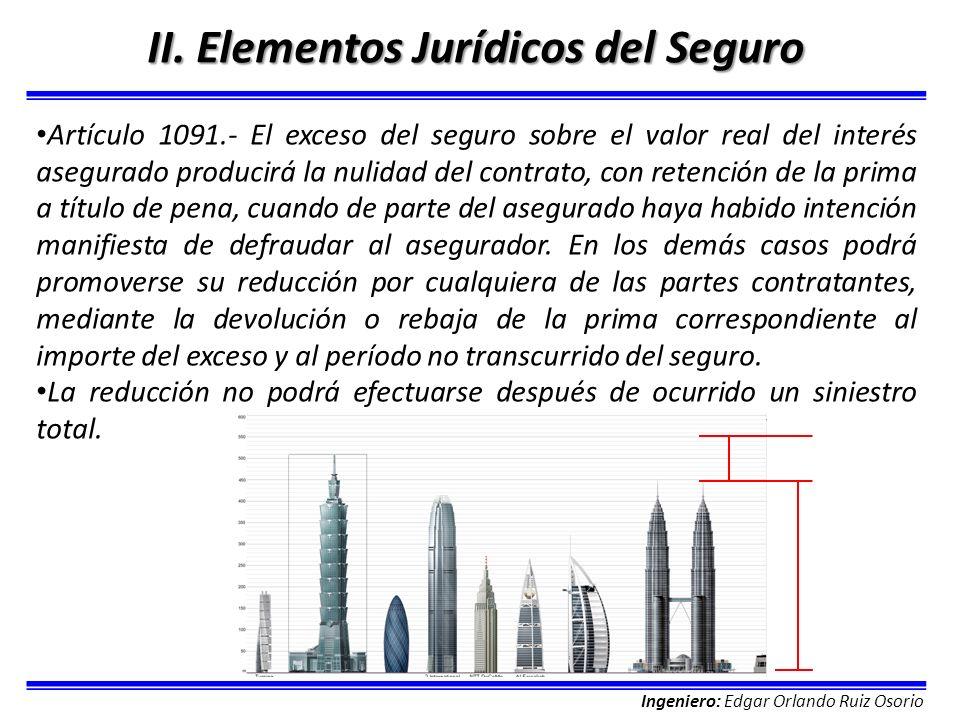 Ingeniero: Edgar Orlando Ruiz Osorio II. Elementos Jurídicos del Seguro Artículo 1091.- El exceso del seguro sobre el valor real del interés asegurado