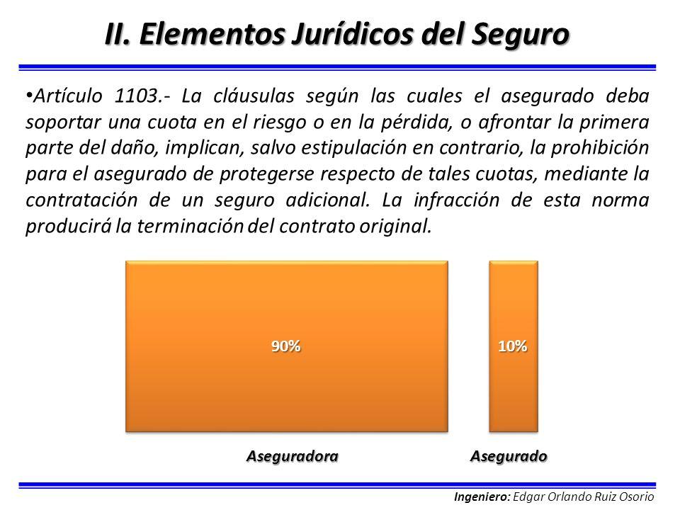 Ingeniero: Edgar Orlando Ruiz Osorio II. Elementos Jurídicos del Seguro Artículo 1103.- La cláusulas según las cuales el asegurado deba soportar una c
