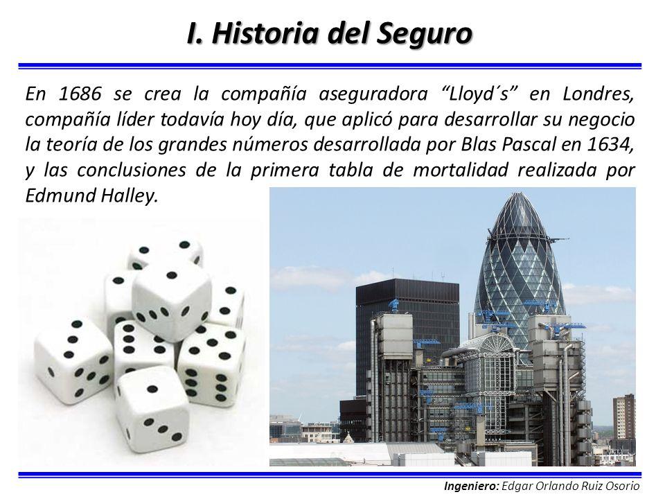 Ingeniero: Edgar Orlando Ruiz Osorio I. Historia del Seguro En 1686 se crea la compañía aseguradora Lloyd´s en Londres, compañía líder todavía hoy día