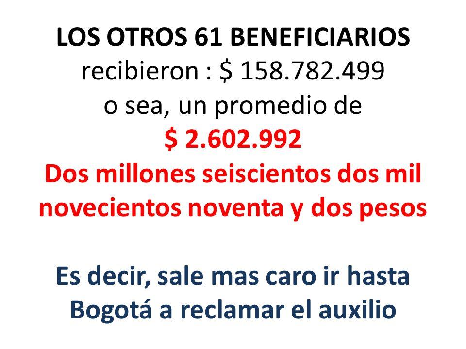 LOS OTROS 61 BENEFICIARIOS recibieron : $ 158.782.499 o sea, un promedio de $ 2.602.992 Dos millones seiscientos dos mil novecientos noventa y dos pes