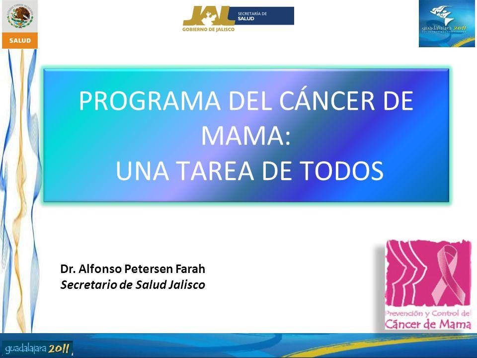 PROGRAMA DEL CÁNCER DE MAMA: UNA TAREA DE TODOS Dr. Alfonso Petersen Farah Secretario de Salud Jalisco