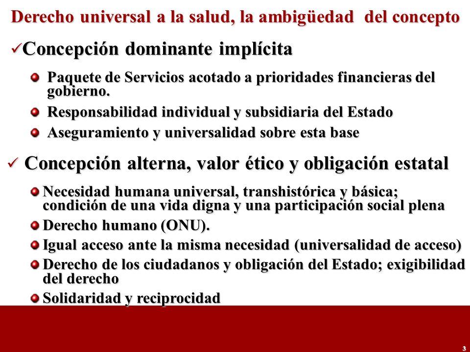 3 Derecho universal a la salud, la ambigüedad del concepto Paquete de Servicios acotado a prioridades financieras del gobierno. Responsabilidad indivi