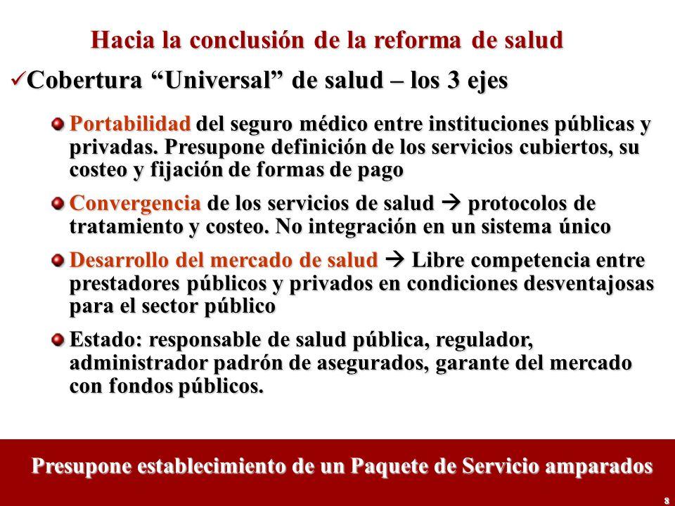 8 Hacia la conclusión de la reforma de salud Cobertura Universal de salud – los 3 ejes Cobertura Universal de salud – los 3 ejes Portabilidad del segu