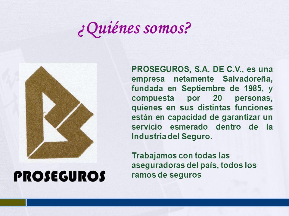 PROSEGUROS, S.A. DE C.V., es una empresa netamente Salvadoreña, fundada en Septiembre de 1985, y compuesta por 20 personas, quienes en sus distintas f