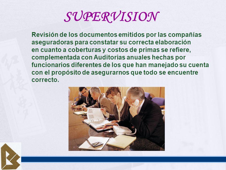 SUPERVISION Revisión de los documentos emitidos por las compañías aseguradoras para constatar su correcta elaboración en cuanto a coberturas y costos