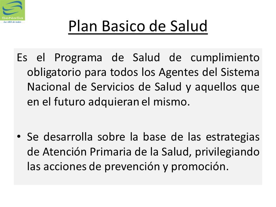 Plan Basico de Salud Es el Programa de Salud de cumplimiento obligatorio para todos los Agentes del Sistema Nacional de Servicios de Salud y aquellos