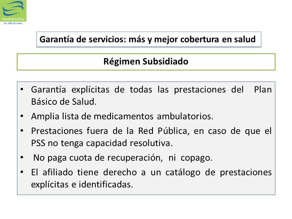 Régimen Subsidiado Garantía explícitas de todas las prestaciones del Plan Básico de Salud. Amplia lista de medicamentos ambulatorios. Prestaciones fue
