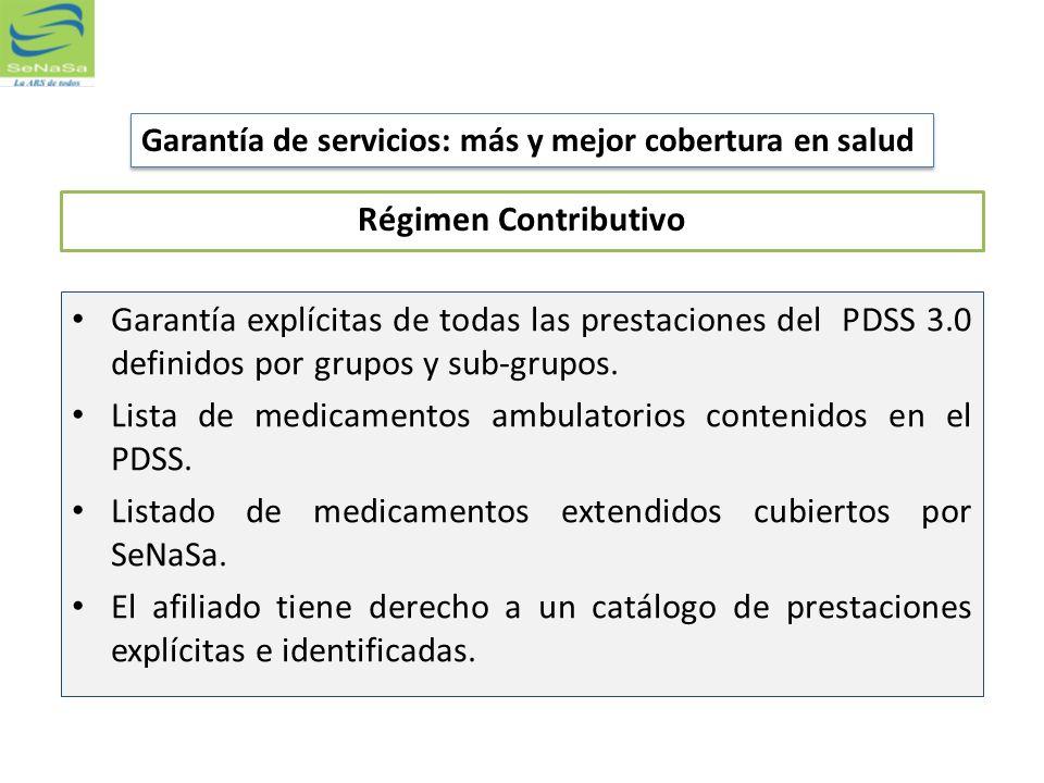 Régimen Contributivo Garantía explícitas de todas las prestaciones del PDSS 3.0 definidos por grupos y sub-grupos. Lista de medicamentos ambulatorios