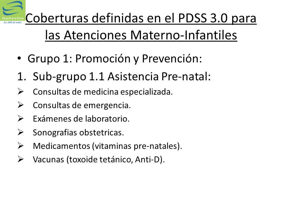 Coberturas definidas en el PDSS 3.0 para las Atenciones Materno-Infantiles Grupo 1: Promoción y Prevención: 1.Sub-grupo 1.1 Asistencia Pre-natal: Cons