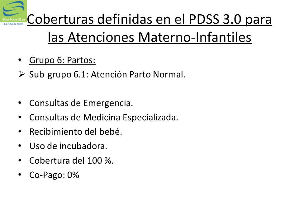 Coberturas definidas en el PDSS 3.0 para las Atenciones Materno-Infantiles Grupo 6: Partos: Sub-grupo 6.1: Atención Parto Normal. Consultas de Emergen