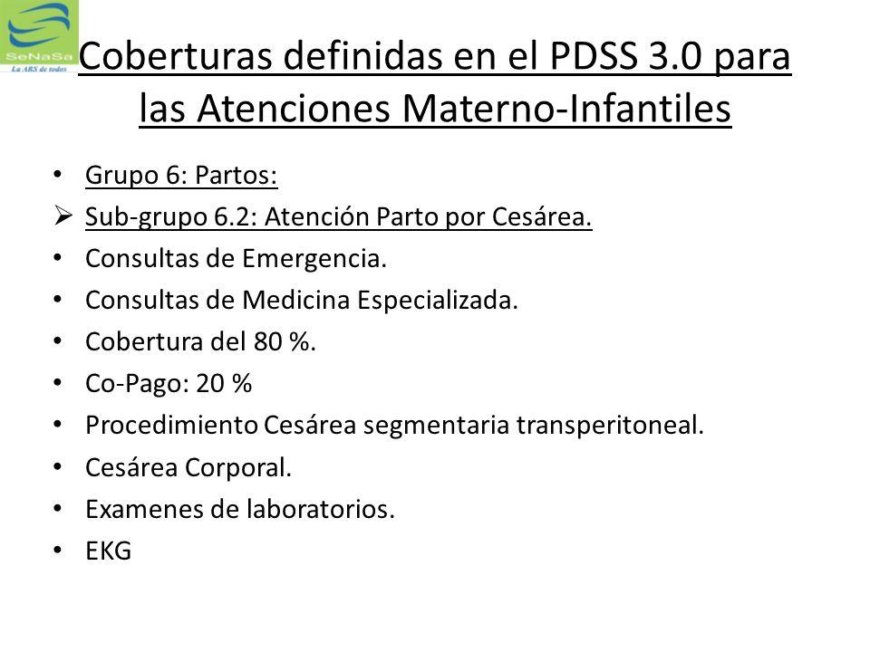Coberturas definidas en el PDSS 3.0 para las Atenciones Materno-Infantiles Grupo 6: Partos: Sub-grupo 6.2: Atención Parto por Cesárea. Consultas de Em