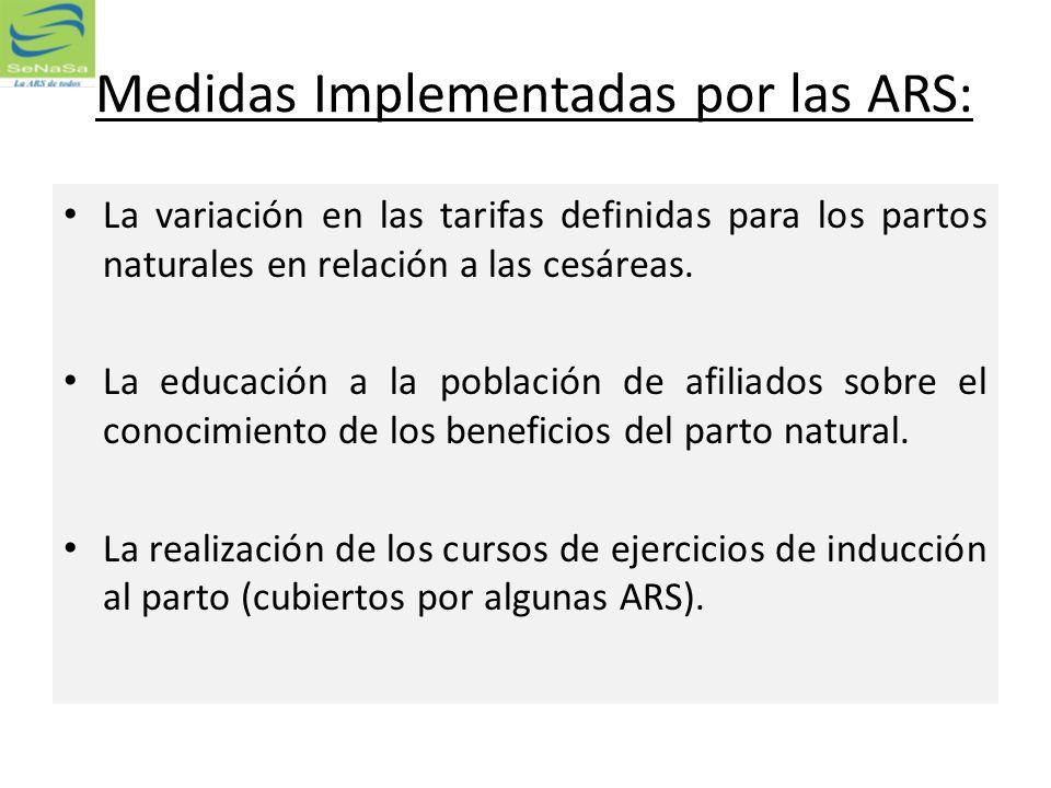 Medidas Implementadas por las ARS: La variación en las tarifas definidas para los partos naturales en relación a las cesáreas. La educación a la pobla