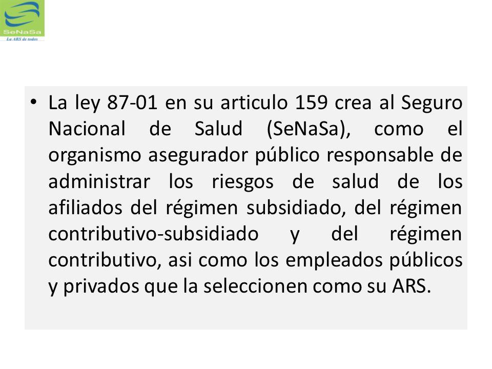 La ley 87-01 en su articulo 159 crea al Seguro Nacional de Salud (SeNaSa), como el organismo asegurador público responsable de administrar los riesgos