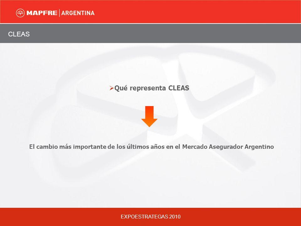 EXPOESTRATEGAS 2010 CLEAS El cambio más importante de los últimos años en el Mercado Asegurador Argentino Qué representa CLEAS