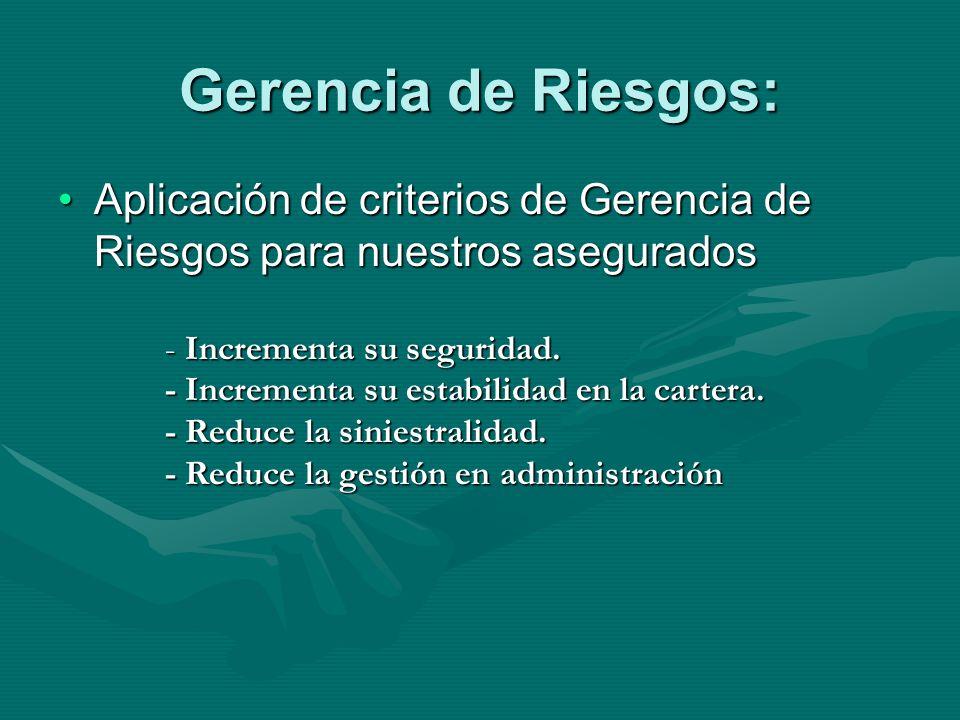 Gerencia de Riesgos: Aplicación de criterios de Gerencia de Riesgos para nuestros aseguradosAplicación de criterios de Gerencia de Riesgos para nuestros asegurados - Incrementa su seguridad.