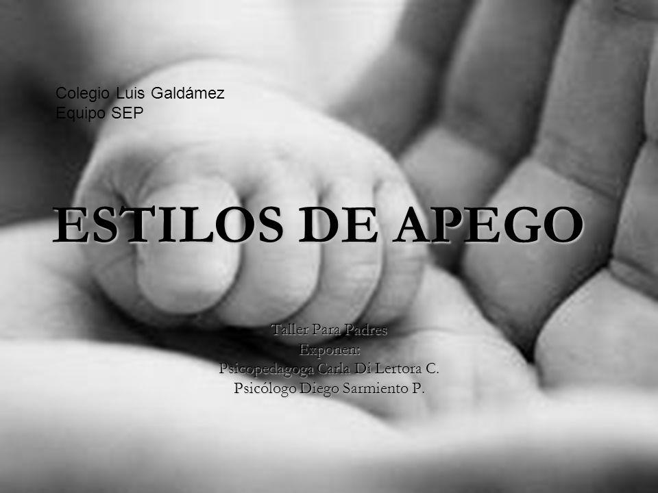 ESTILOS DE APEGO Taller Para Padres Exponen: Psicopedagoga Carla Di Lertora C.