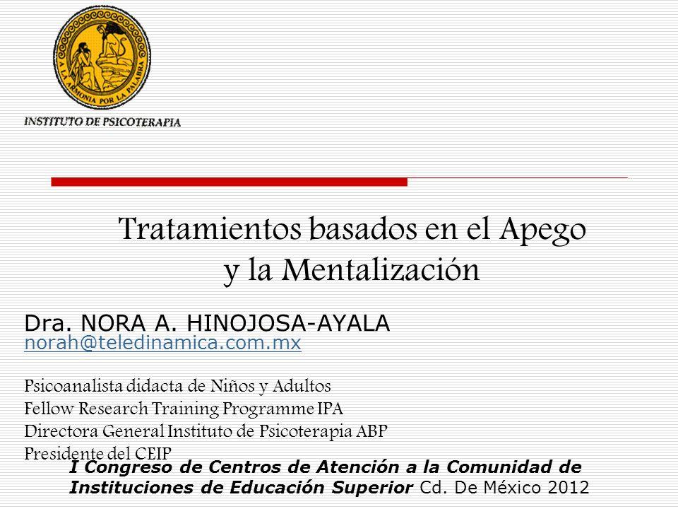 Tratamientos basados en el Apego y la Mentalización Dra. NORA A. HINOJOSA-AYALA norah@teledinamica.com.mx norah@teledinamica.com.mx Psicoanalista dida