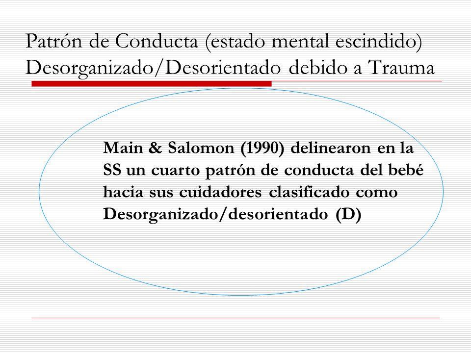 Patrón de Conducta (estado mental escindido) Desorganizado/Desorientado debido a Trauma Main & Salomon (1990) delinearon en la SS un cuarto patrón de