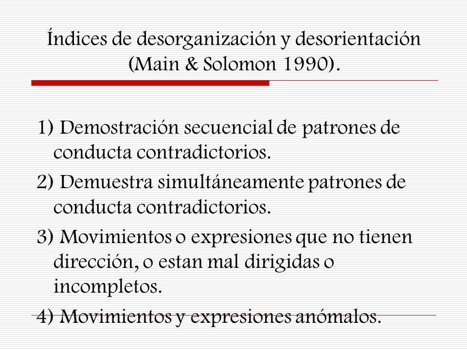 Índices de desorganización y desorientación (Main & Solomon 1990). 1) Demostración secuencial de patrones de conducta contradictorios. 2) Demuestra si