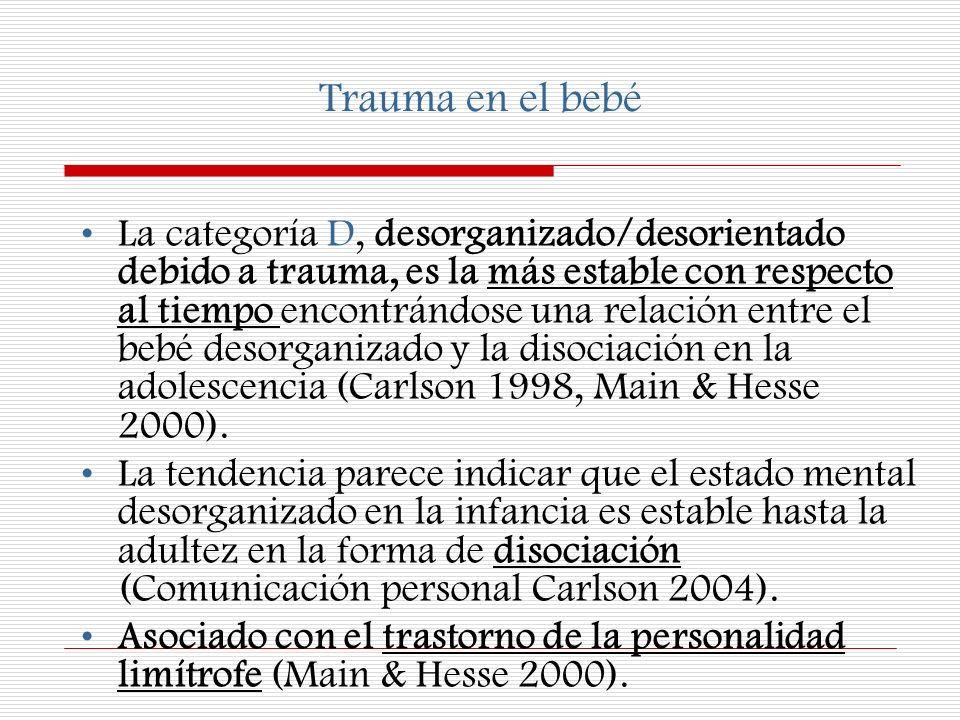 Trauma en el bebé La categoría D, desorganizado/desorientado debido a trauma, es la más estable con respecto al tiempo encontrándose una relación entr