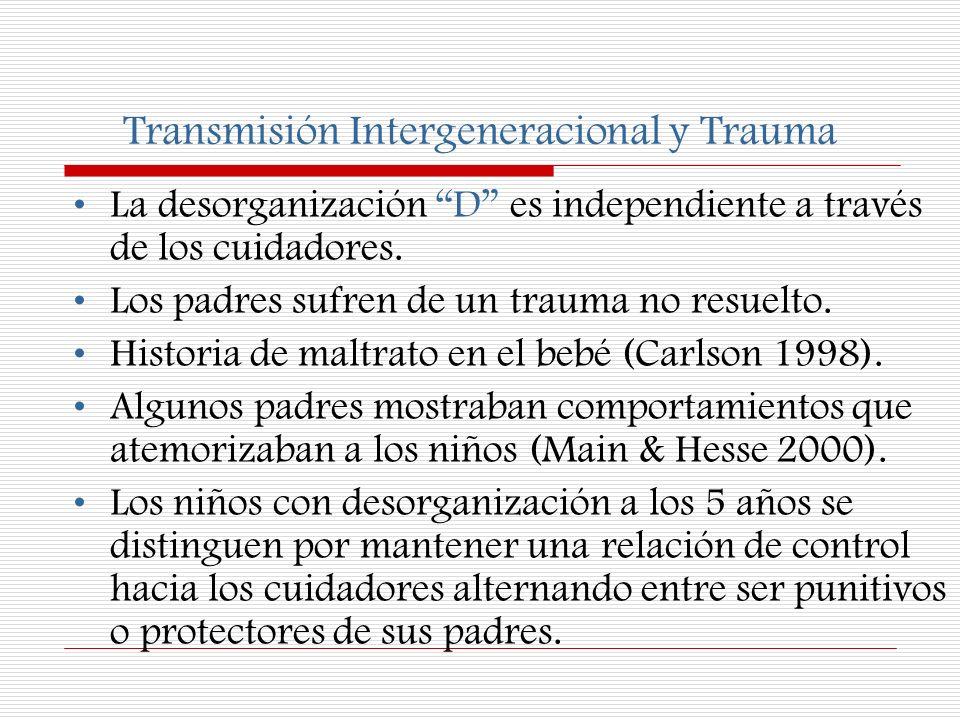 Transmisión Intergeneracional y Trauma La desorganización D es independiente a través de los cuidadores. Los padres sufren de un trauma no resuelto. H