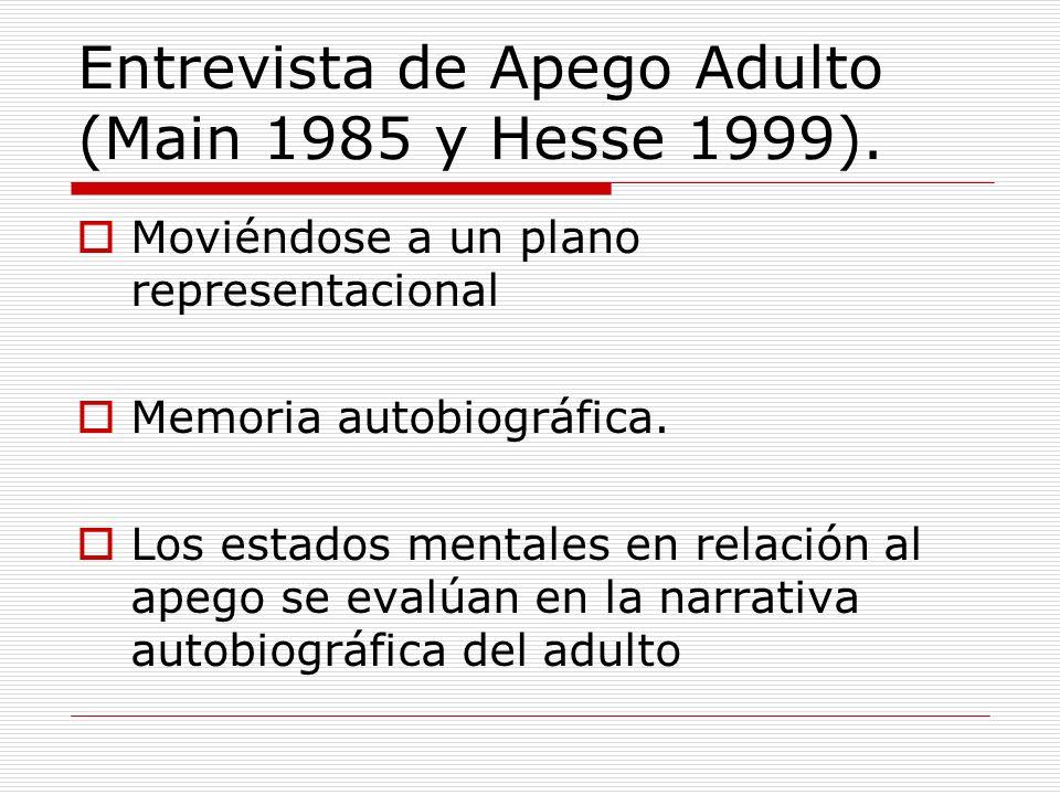 Entrevista de Apego Adulto (Main 1985 y Hesse 1999). Moviéndose a un plano representacional Memoria autobiográfica. Los estados mentales en relación a