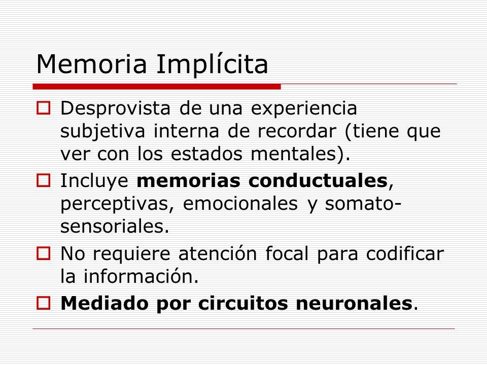 Memoria Implícita Desprovista de una experiencia subjetiva interna de recordar (tiene que ver con los estados mentales). Incluye memorias conductuales