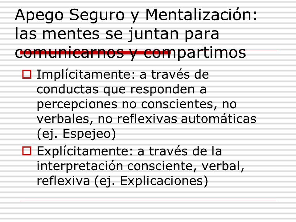 Apego Seguro y Mentalización: las mentes se juntan para comunicarnos y compartimos Implícitamente: a través de conductas que responden a percepciones