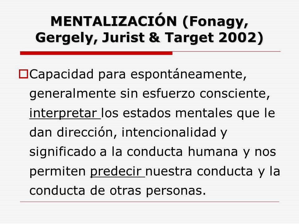 MENTALIZACIÓN (Fonagy, Gergely, Jurist & Target 2002) Capacidad para espontáneamente, generalmente sin esfuerzo consciente, interpretar los estados me