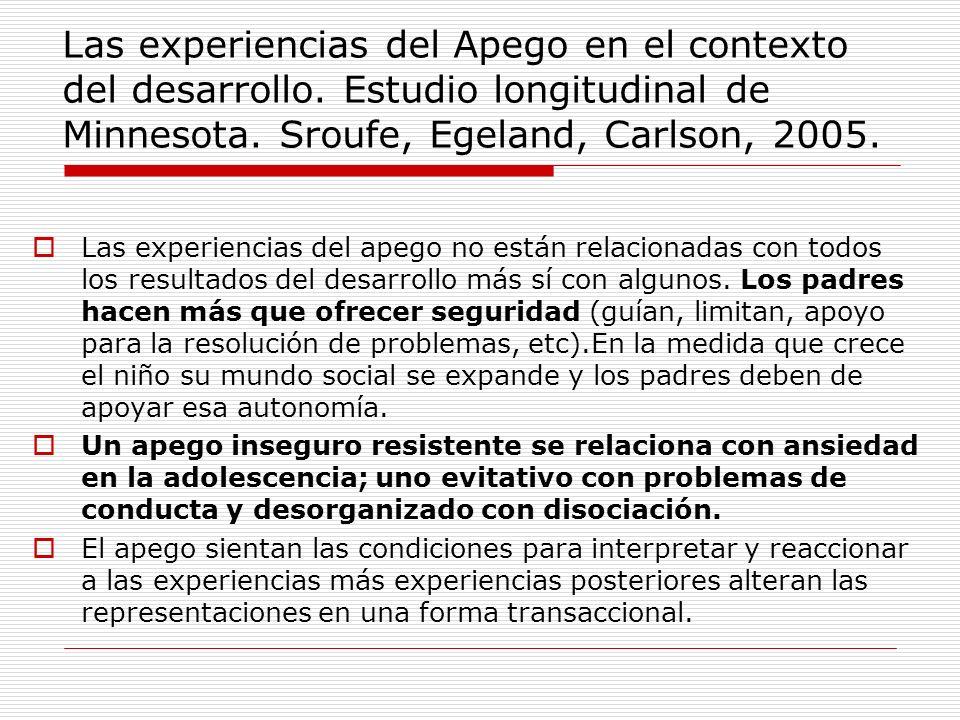 Las experiencias del Apego en el contexto del desarrollo. Estudio longitudinal de Minnesota. Sroufe, Egeland, Carlson, 2005. Las experiencias del apeg