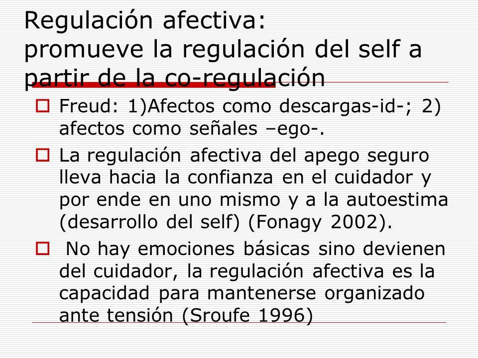 Regulación afectiva: promueve la regulación del self a partir de la co-regulación Freud: 1)Afectos como descargas-id-; 2) afectos como señales –ego-.