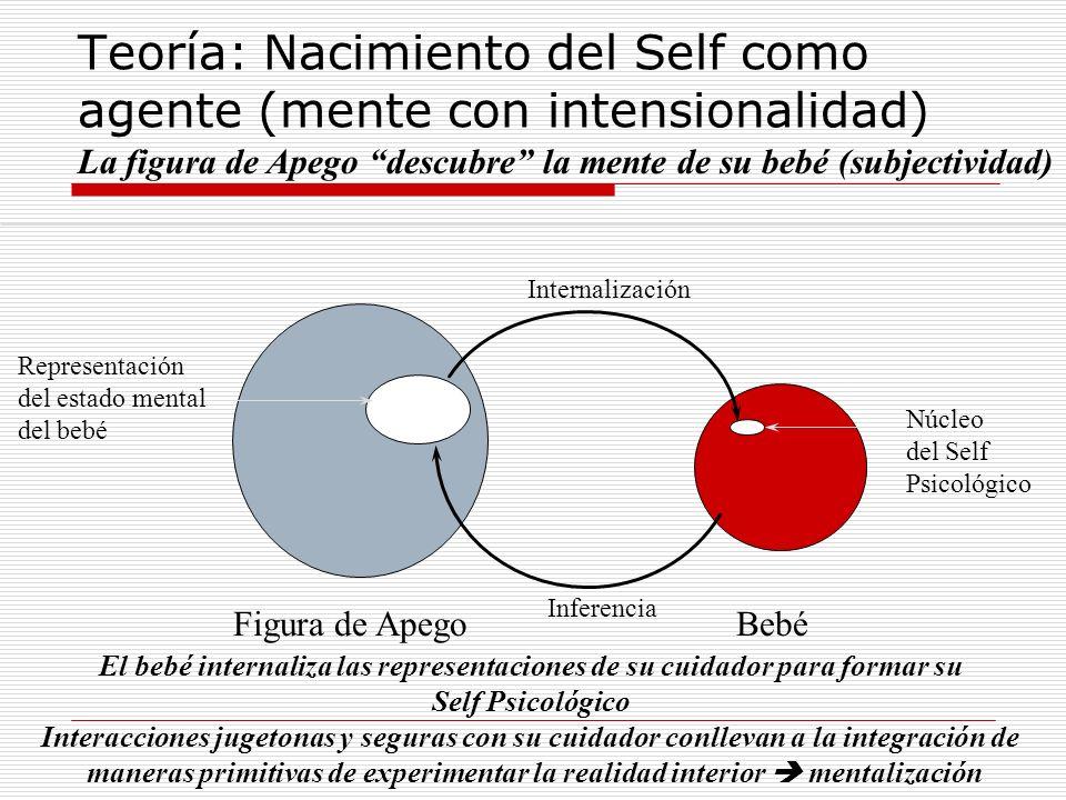 Teoría: Nacimiento del Self como agente (mente con intensionalidad) La figura de Apego descubre la mente de su bebé (subjectividad) Representación del