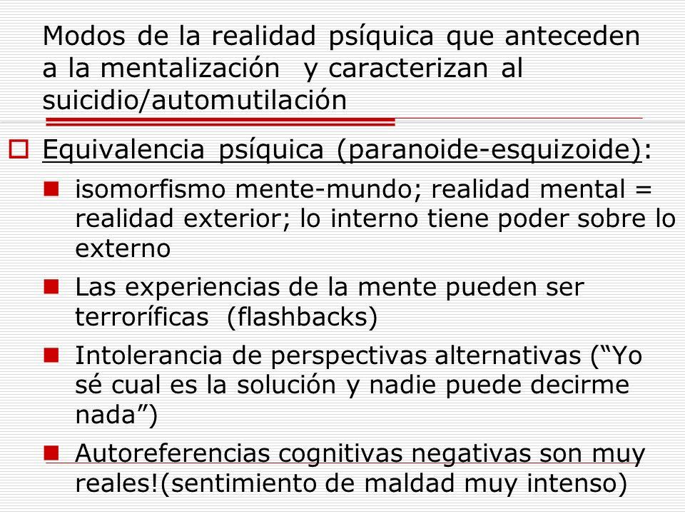 Modos de la realidad psíquica que anteceden a la mentalización y caracterizan al suicidio/automutilación Equivalencia psíquica (paranoide-esquizoide):