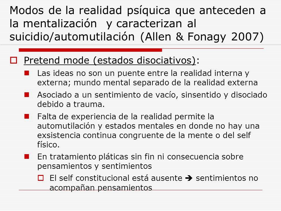 Modos de la realidad psíquica que anteceden a la mentalización y caracterizan al suicidio/automutilación (Allen & Fonagy 2007) Pretend mode (estados d