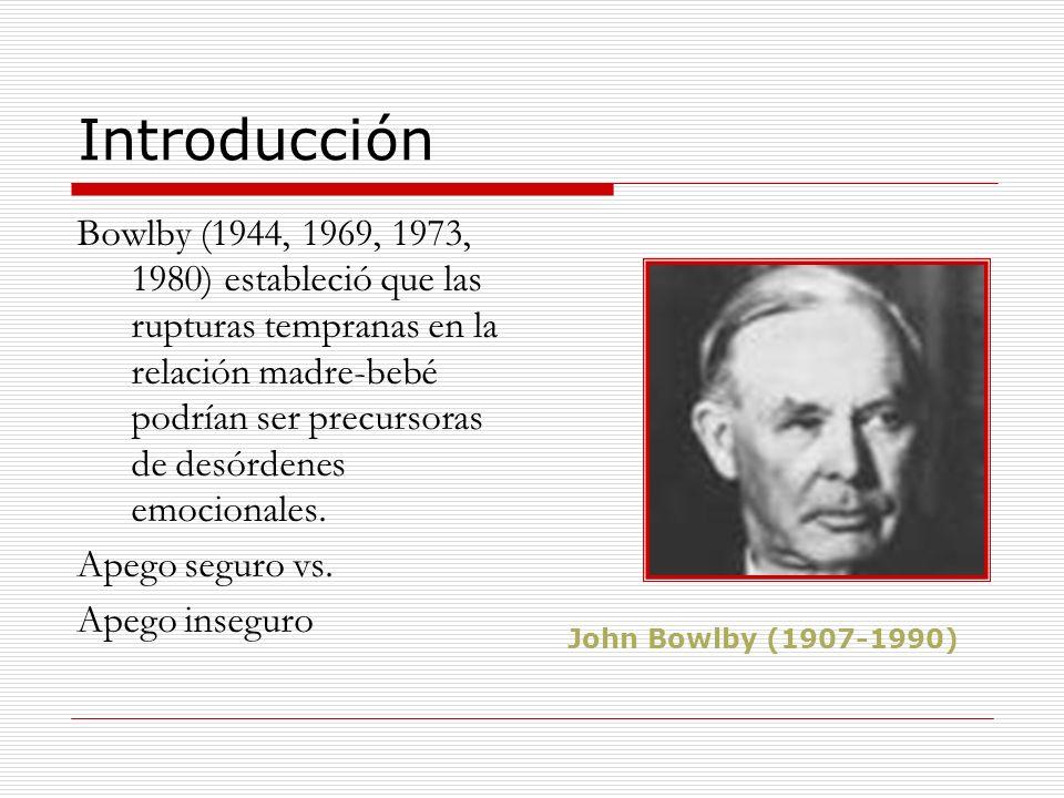 Introducción Bowlby (1944, 1969, 1973, 1980) estableció que las rupturas tempranas en la relación madre-bebé podrían ser precursoras de desórdenes emo