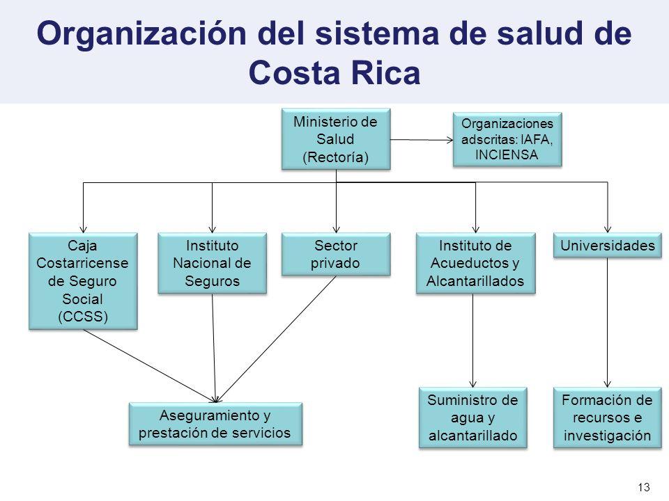 Organización del sistema de salud de Costa Rica 13 Ministerio de Salud (Rectoría) Ministerio de Salud (Rectoría) Caja Costarricense de Seguro Social (