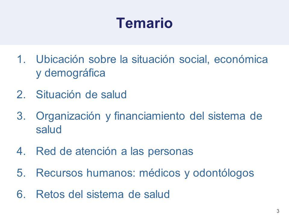 3 Temario 1.Ubicación sobre la situación social, económica y demográfica 2.Situación de salud 3.Organización y financiamiento del sistema de salud 4.R