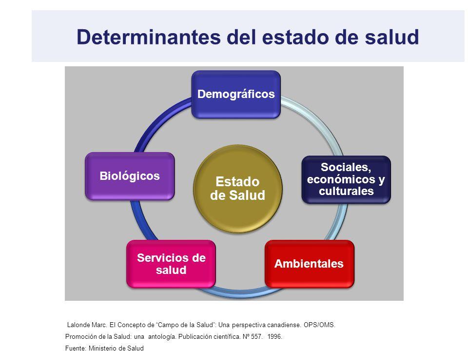 Determinantes del estado de salud Estado de Salud Demográficos Sociales, económicos y culturales Ambientales Servicios de salud Biológicos Lalonde Mar