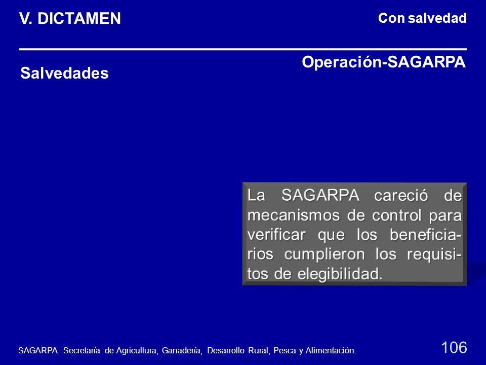 Con salvedad Salvedades Operación-SAGARPA 106 V. DICTAMEN SAGARPA: Secretaría de Agricultura, Ganadería, Desarrollo Rural, Pesca y Alimentación.