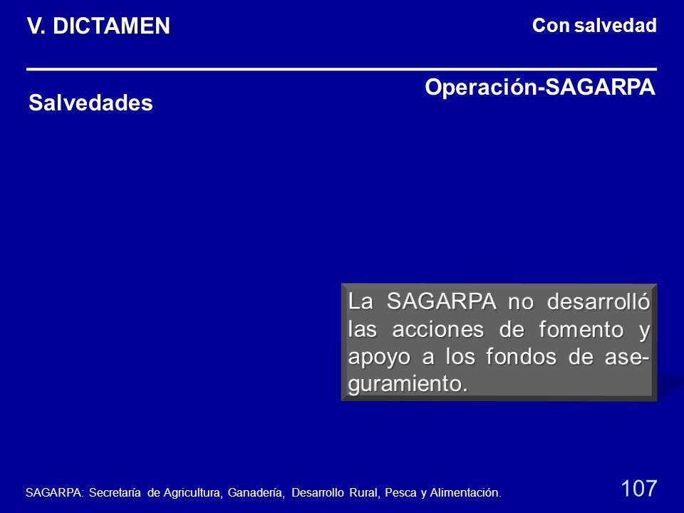 Con salvedad Salvedades Operación-SAGARPA 107 V. DICTAMEN SAGARPA: Secretaría de Agricultura, Ganadería, Desarrollo Rural, Pesca y Alimentación.