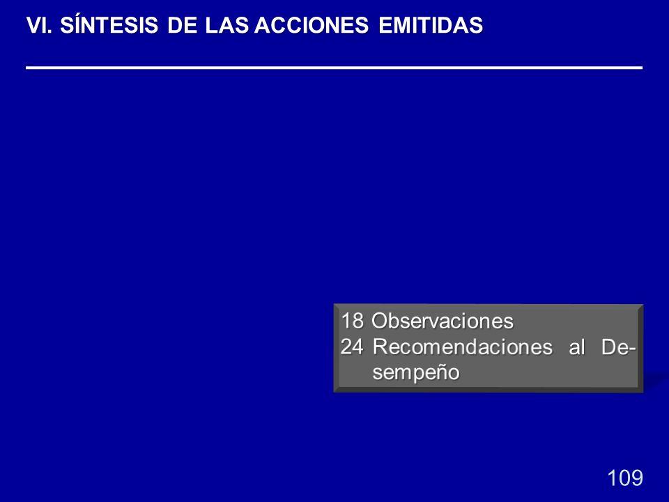 109 VI. SÍNTESIS DE LAS ACCIONES EMITIDAS