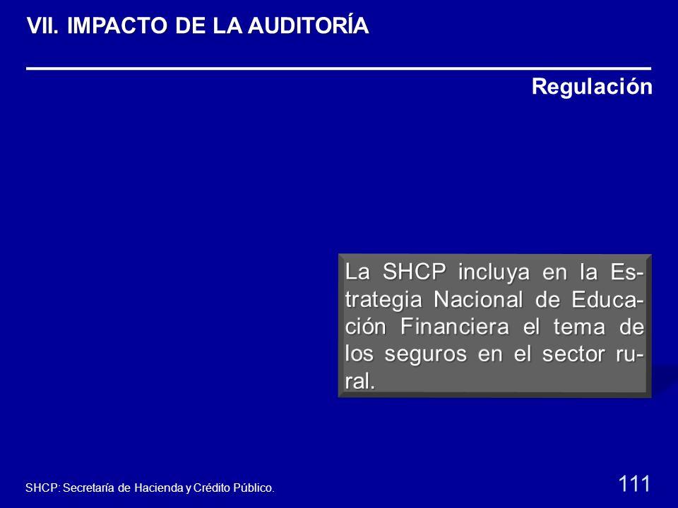 Regulación 111 SHCP: Secretaría de Hacienda y Crédito Público. VII. IMPACTO DE LA AUDITORÍA