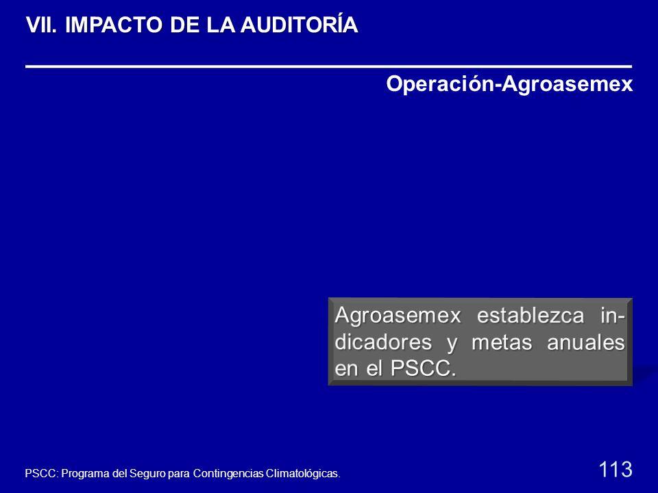 Operación-Agroasemex 113 PSCC: Programa del Seguro para Contingencias Climatológicas. VII. IMPACTO DE LA AUDITORÍA