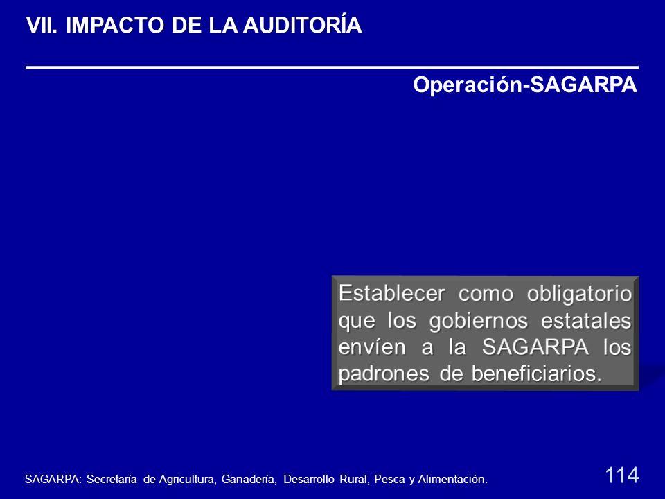 Operación-SAGARPA 114 VII. IMPACTO DE LA AUDITORÍA SAGARPA: Secretaría de Agricultura, Ganadería, Desarrollo Rural, Pesca y Alimentación.