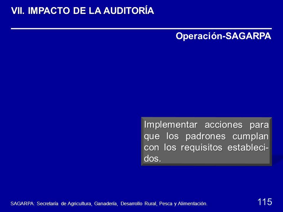 Operación-SAGARPA 115 VII. IMPACTO DE LA AUDITORÍA SAGARPA: Secretaría de Agricultura, Ganadería, Desarrollo Rural, Pesca y Alimentación.