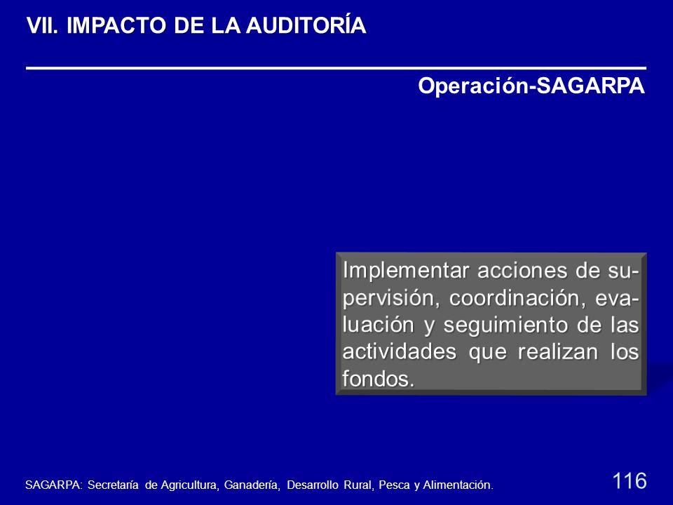 Operación-SAGARPA 116 VII. IMPACTO DE LA AUDITORÍA SAGARPA: Secretaría de Agricultura, Ganadería, Desarrollo Rural, Pesca y Alimentación.
